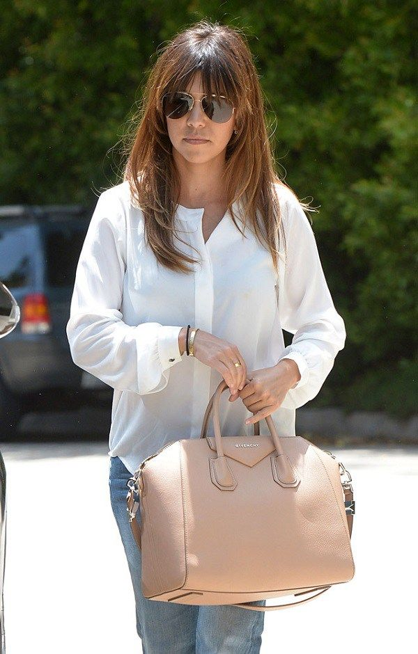Kourtney Kardashian white blouse with nude Givenchy Antigona  49ab0dd35b996