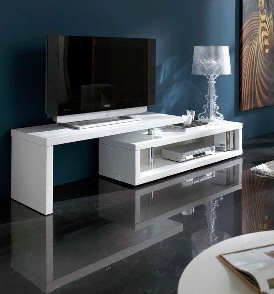 mueble de tv moderno fabricado en dm con acabado lacado