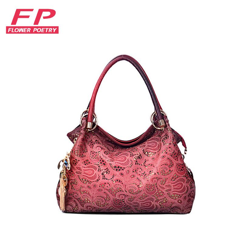 Leather · Women bags luxury pu leather tote bags women handbag hollow out  messenger bag diamond pendant red f329c950d8869