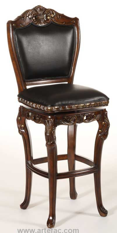 Augustus Swivel Bar Counter Stool In Top Grain Leather