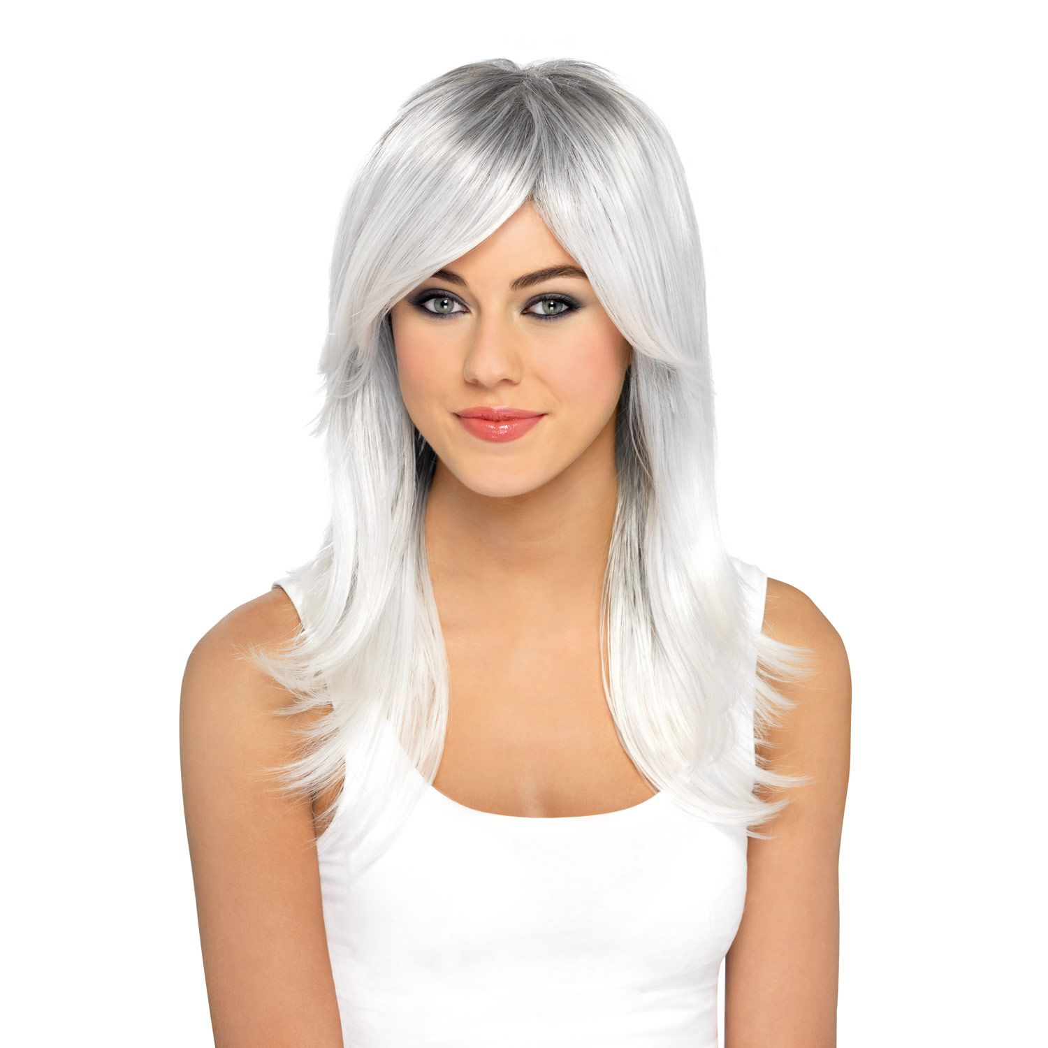 Bewitching Wig Halloween Witch Red Silver On Black Womens Fancy Dress Costume