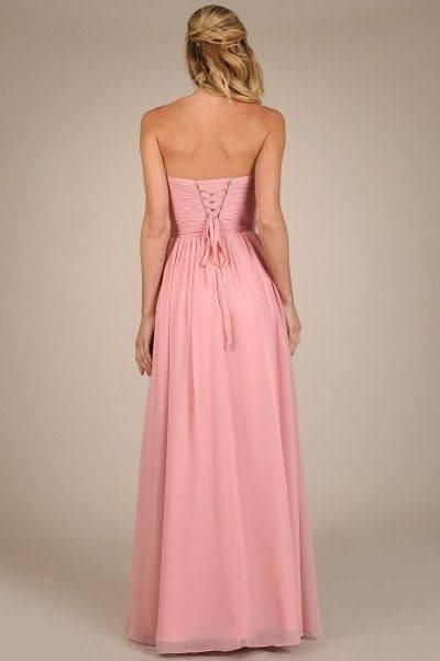 9e127d03bd1 Strapless sweetheart neckline long chiffon bridesmaid dress featuring  beautiful ruched bodice and waist band. This
