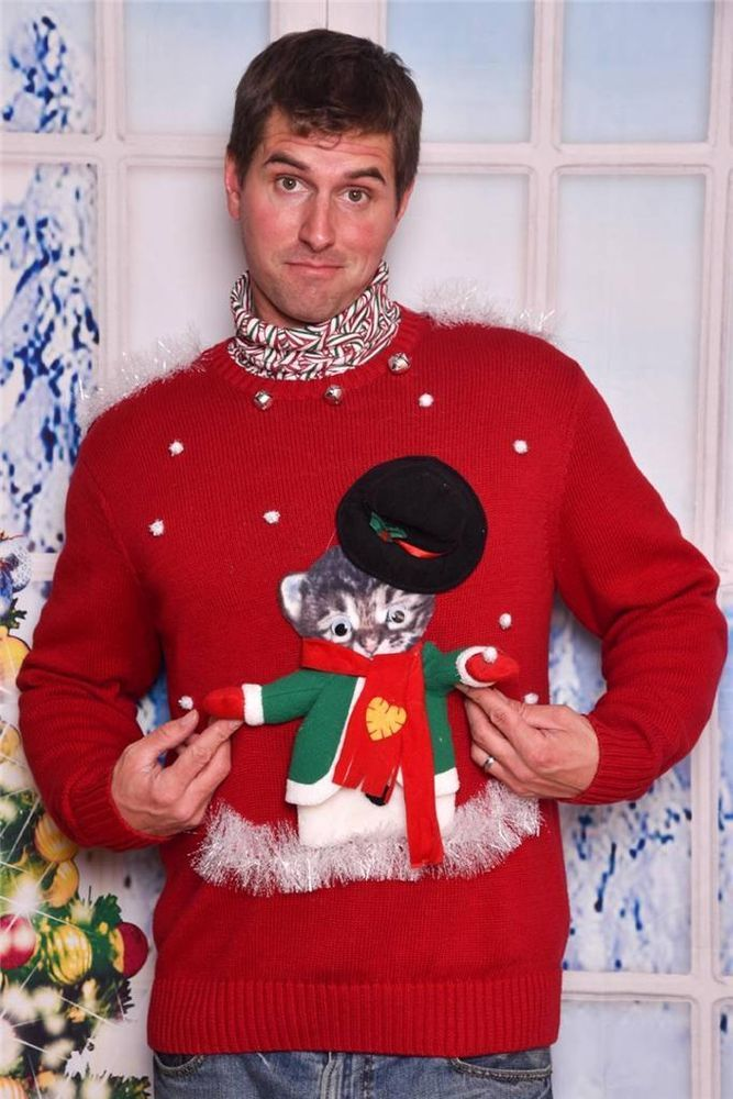 a8596c4507 Men s or Womens Ugly Tacky Xmas Sweater sz XXL XL Cat in Costume with Hat  Fun  ChristmasCat This cat is wearing a snowman costume in this awesome ugly  ...