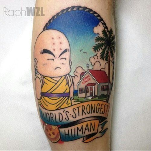 Krillin From Dragon Ball American Style Tattoo Tattoos