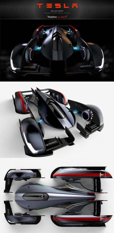 The Tesla Lmp1 Looks Like Bruce Wayne Tony Stark And The Speed Racer Co Created This Futuristic 6 Wheel Drive The Car Wheels Car Wheel Cover Futuristic Cars