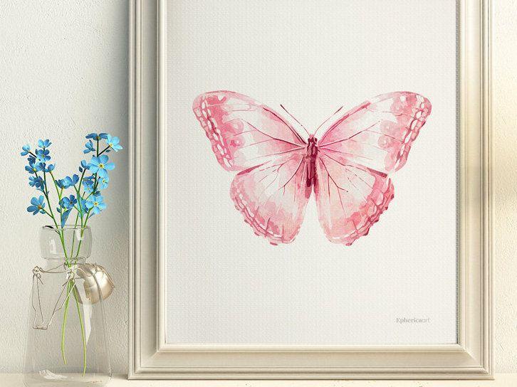 Light Pink Butterfly Wall Decor Pale Pink Baby Girl Art - Light pink nursery decor