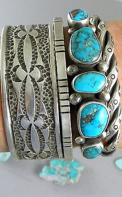 Primitive-Dead-Pawn-All-Natural-Red-Bisbee-Turquoise-Navajo-Row-Cuff-Bracelet