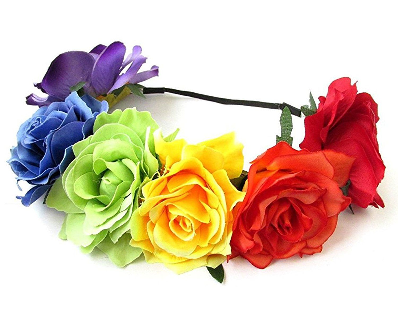 12 Each Hippie Hawaiian Stretch Flower Headband Rainbow At