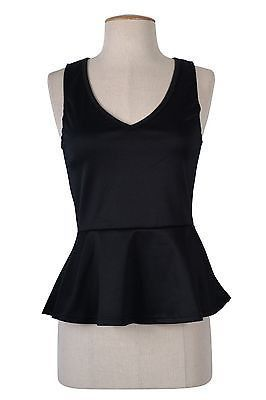 Solid Colors Fitted V Neck Sleeveless Cami PEPLUM Skater Tank Top Blouse Shirts