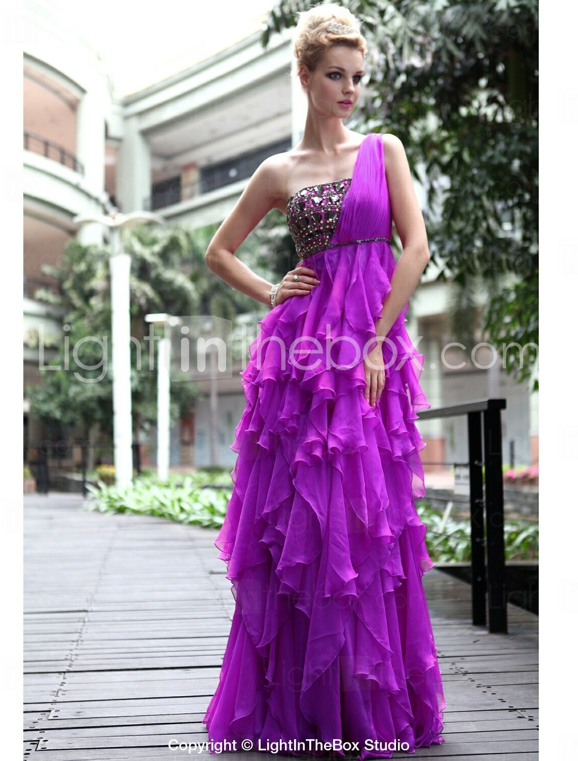 A-line/ Princess One Shoulder Floor-length Chiffon With Sequins ...