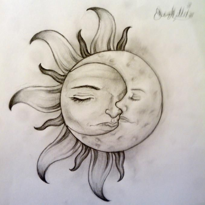 Sun And Moon Moon Tattoo Designs Easy Nature Drawings