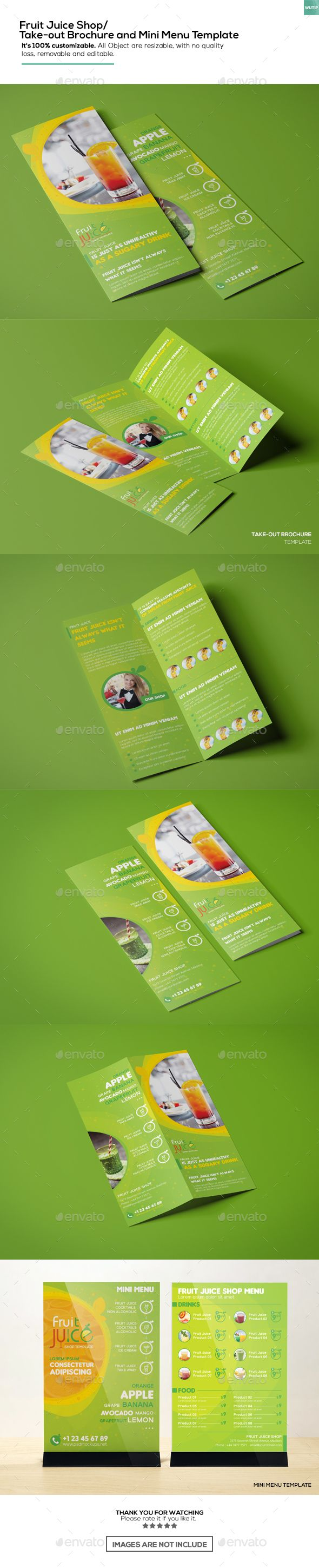Fruit Juice Shop Takeout Brochure And Mini Menu Template Menu - Mini brochure template