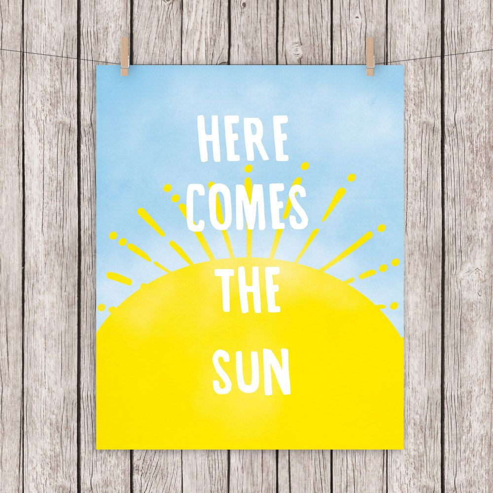 Here Comes The Sun Printable Typography Art Print Quote, Beatles ...