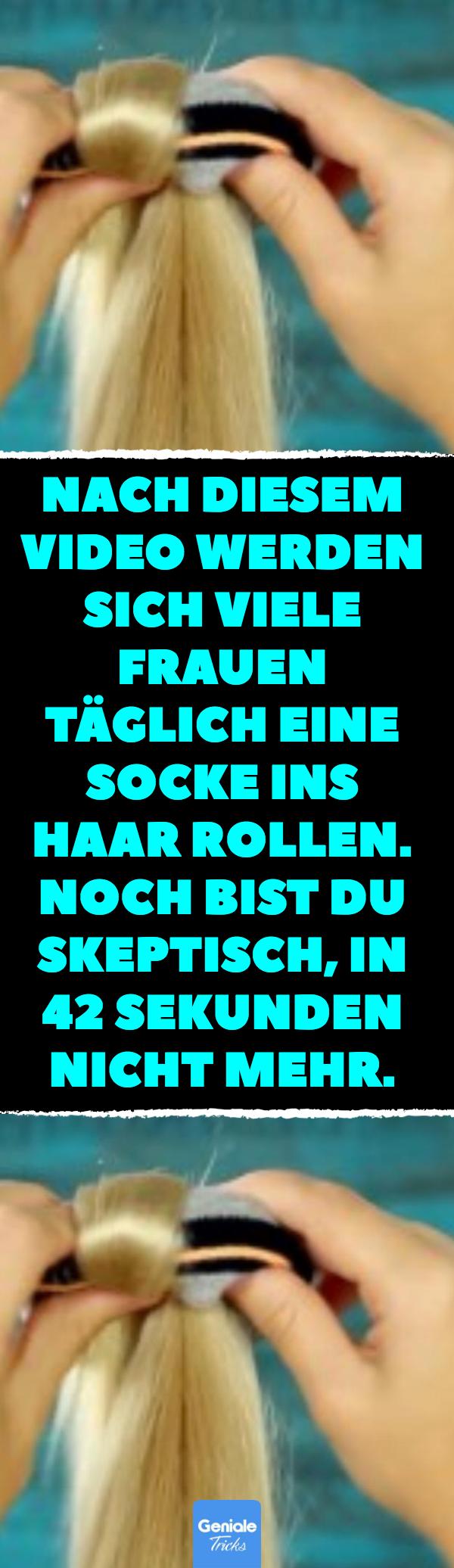 Nach diesem Video werden sich viele Frauen täglich eine Socke ins Haar rollen. Noch bist du skeptisch, in 42 Sekunden nicht mehr. Frisier-Trick: 30-Sekunden-Frisur mit Socke. #lifehacks #frisur #socke #dutt #frisur