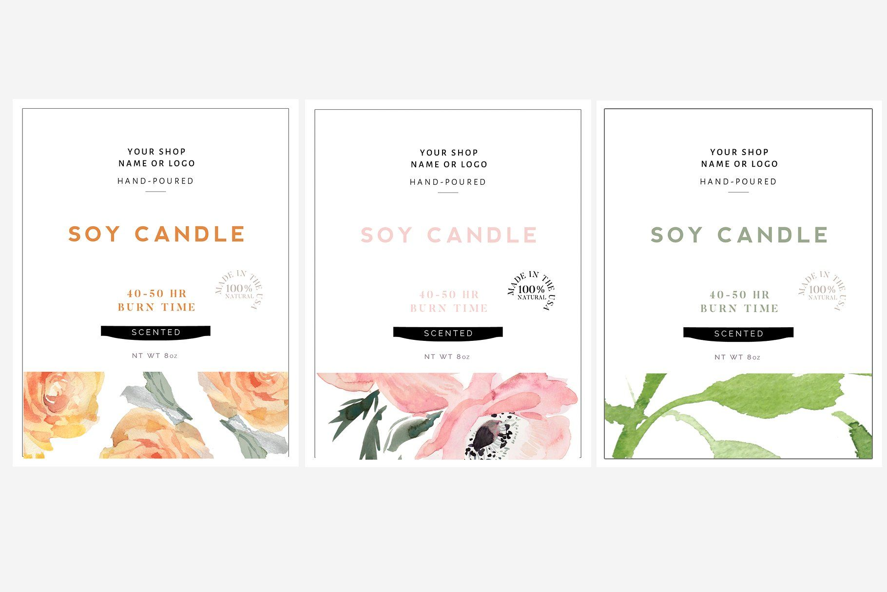 candle label, soy wax label, label template, Skin Care label