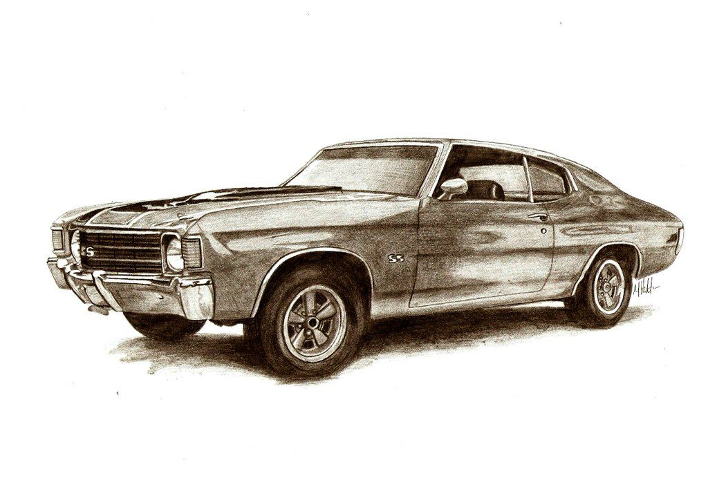 Muscle Car Sketches Auto Art Car Drawings Chevy Chevelle Car