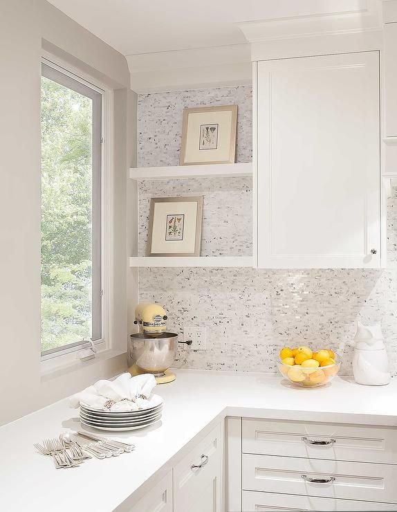 Best Beautiful White Kitchen Features White Cabinets Accented 640 x 480