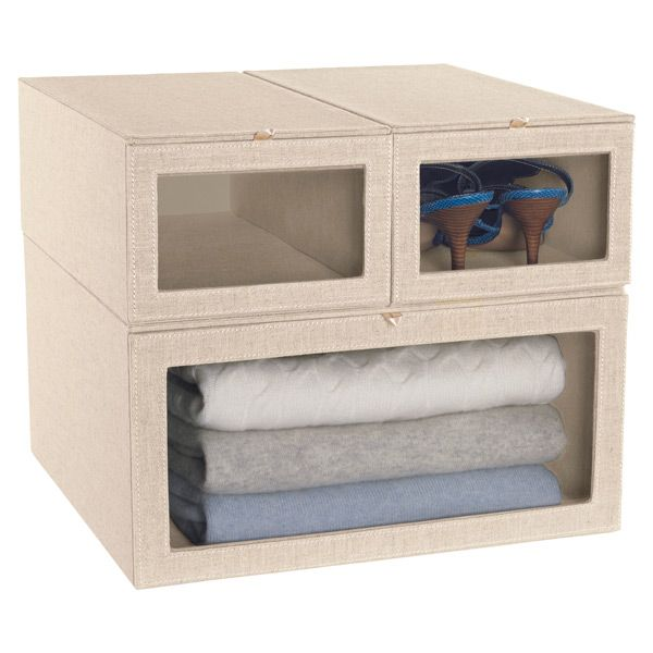 Linen Drop Front Sweater Box Home Organization Container Store