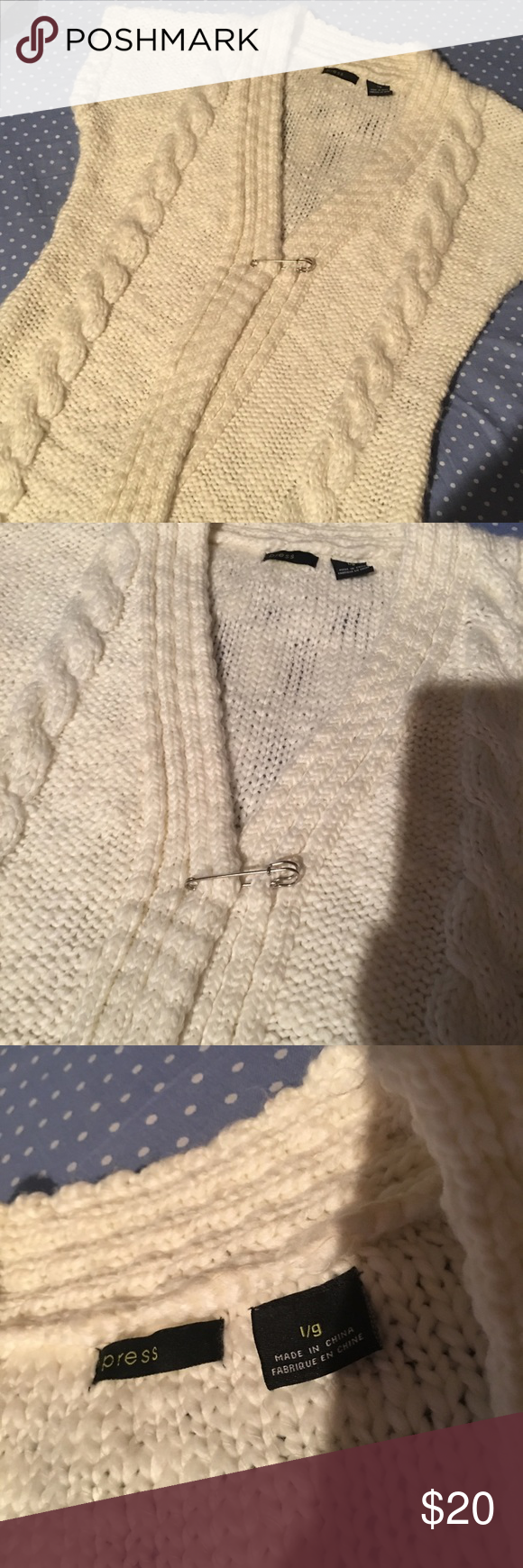 """Sweater vest with large pin for closure Long Sweater vest with large pin for closure. Can be wrapped and pinned or worn open! 31 1/2"""" long. Off white/winter white in color. Great condition! Sweaters"""