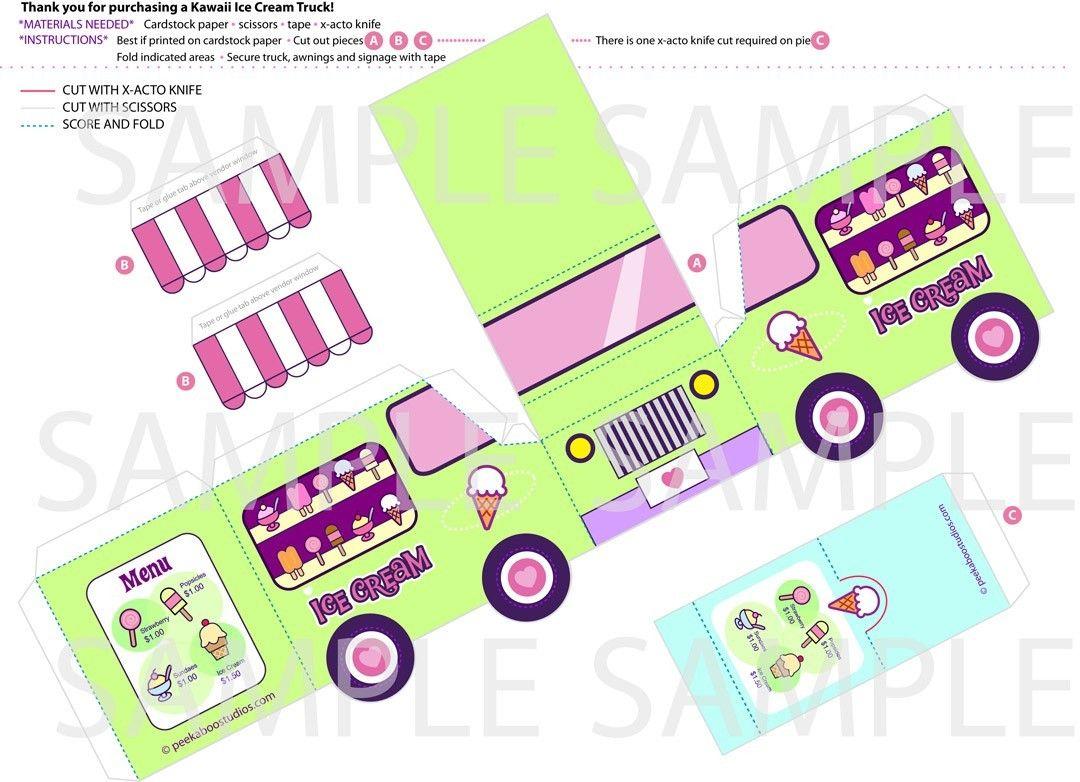 Printable Paper Toy Kawaii Ice Cream Truck | buses,carros de papel ...