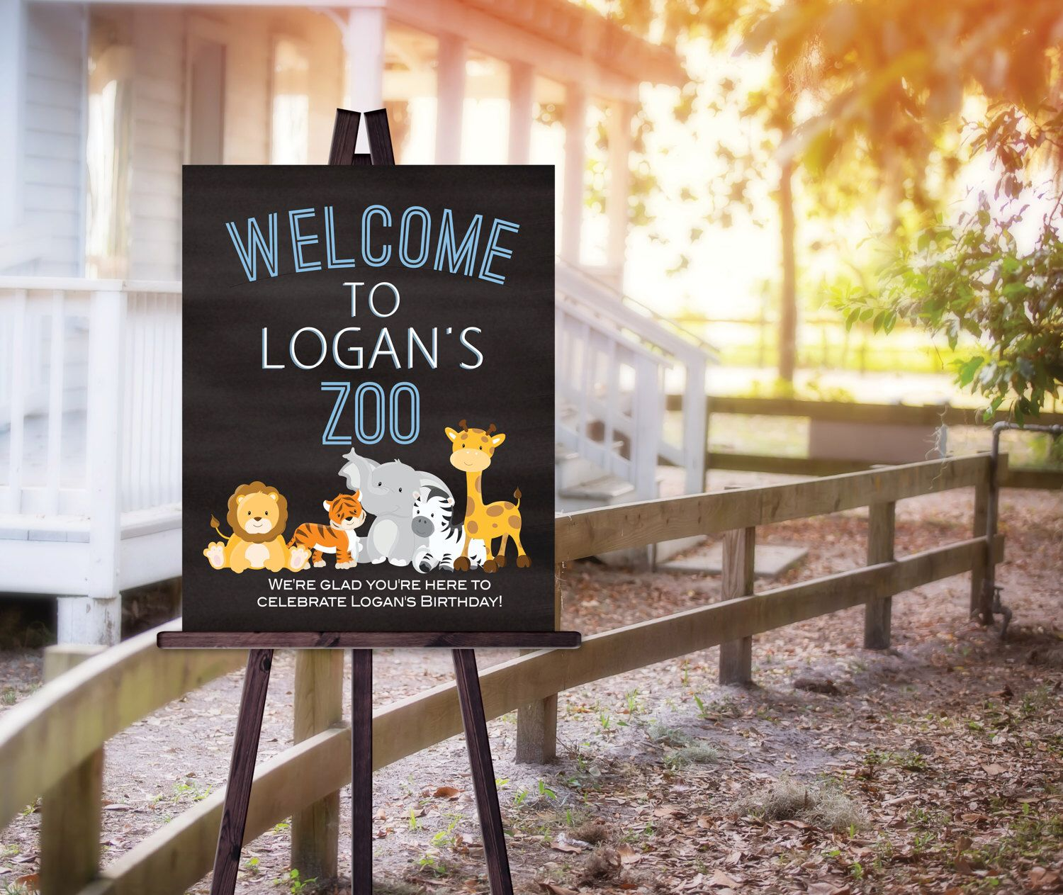 Birthday Party Welcome Sign Poster Zoo Theme Any Age Blue and