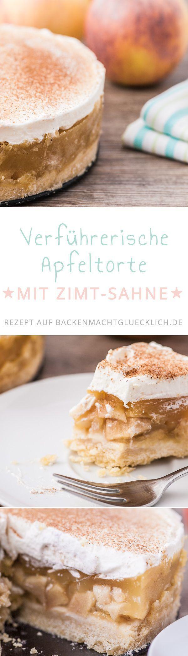 Apfel-Sahne-Torte mit Pudding #applepie