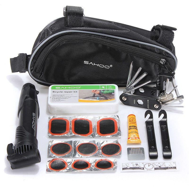 Sahoo Bike Repair Tool Kit Bag Folding 15 In 1 Tool Tire Repair