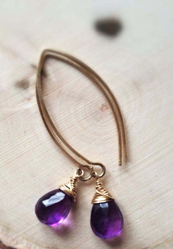 Faceted Amethyst 14k Gold Fill Wire Wrapped by Bellebijouatelier