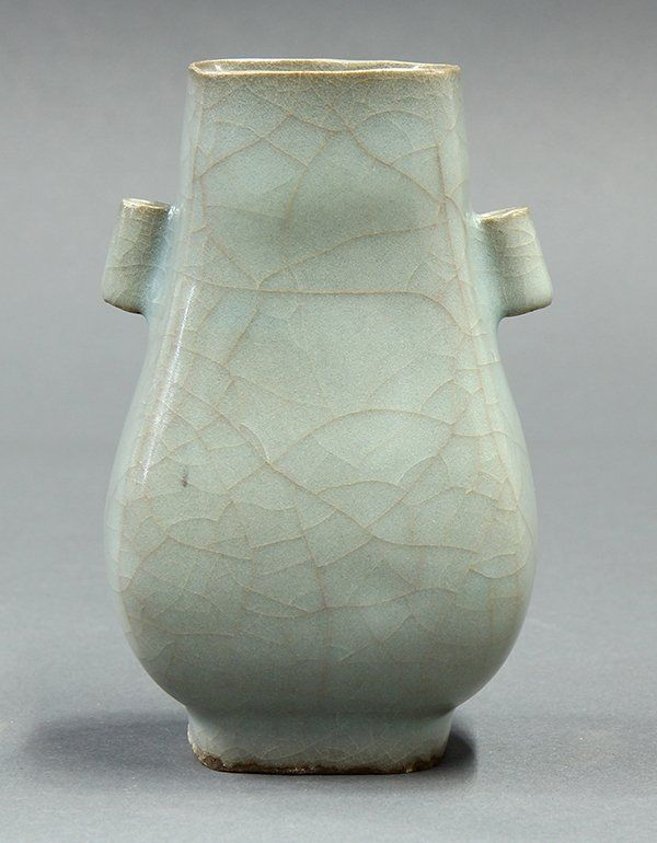 "Chinese Guan Type Vase of flattened hu form flanked by tubular handles, the body suffused with a matrix of crackles, 5.25""h"