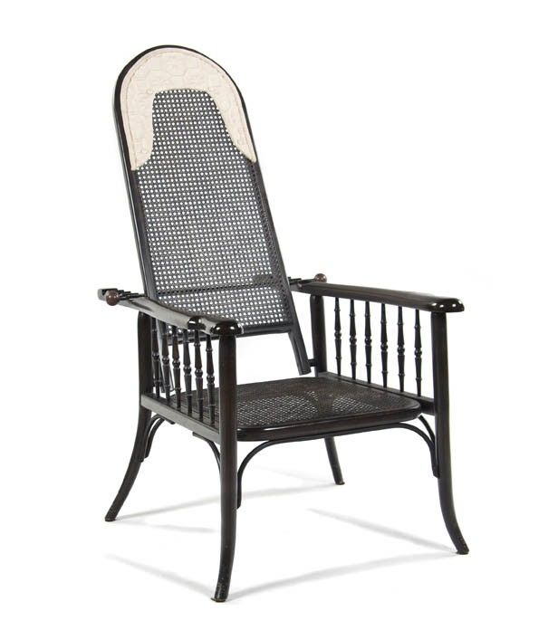 A Caned Bentwood Morris Style Open Armchair, Heig