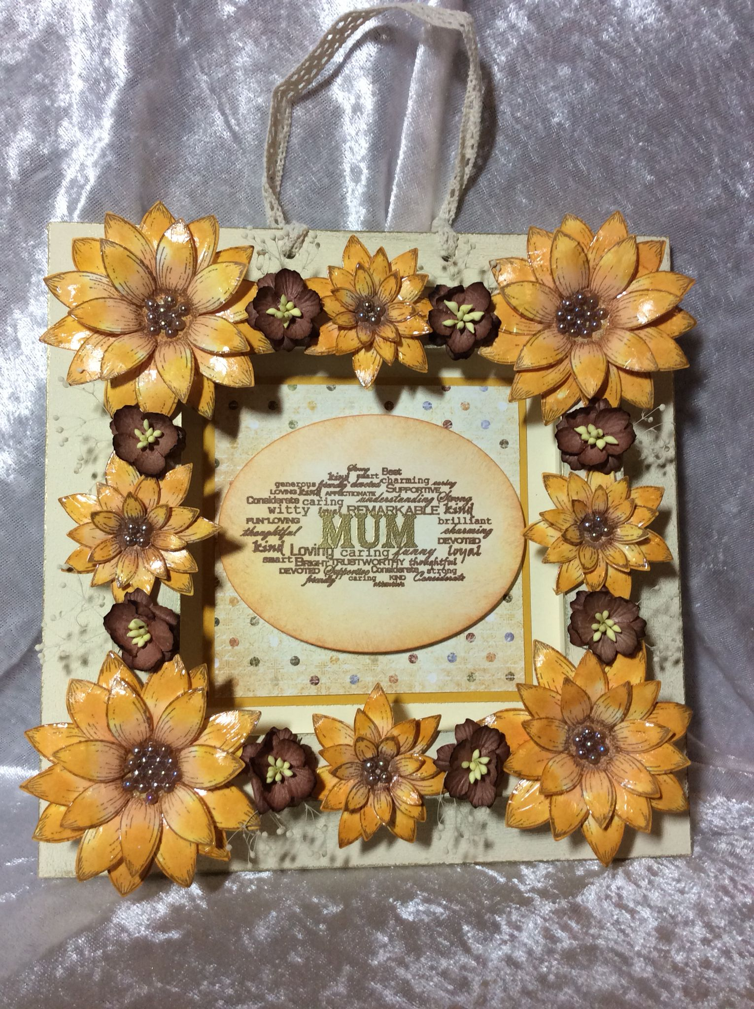 Anna Marie Designs frame, decorated with paper flowers and sunflowers made using Heartfelt Creations sunflower stamp and die set. Centre made from Heartfelt Creations sunflower collection paper and stamps from Anna Marie Designs 'For Her'. Frame painted with American Decor chalky paints. This idea