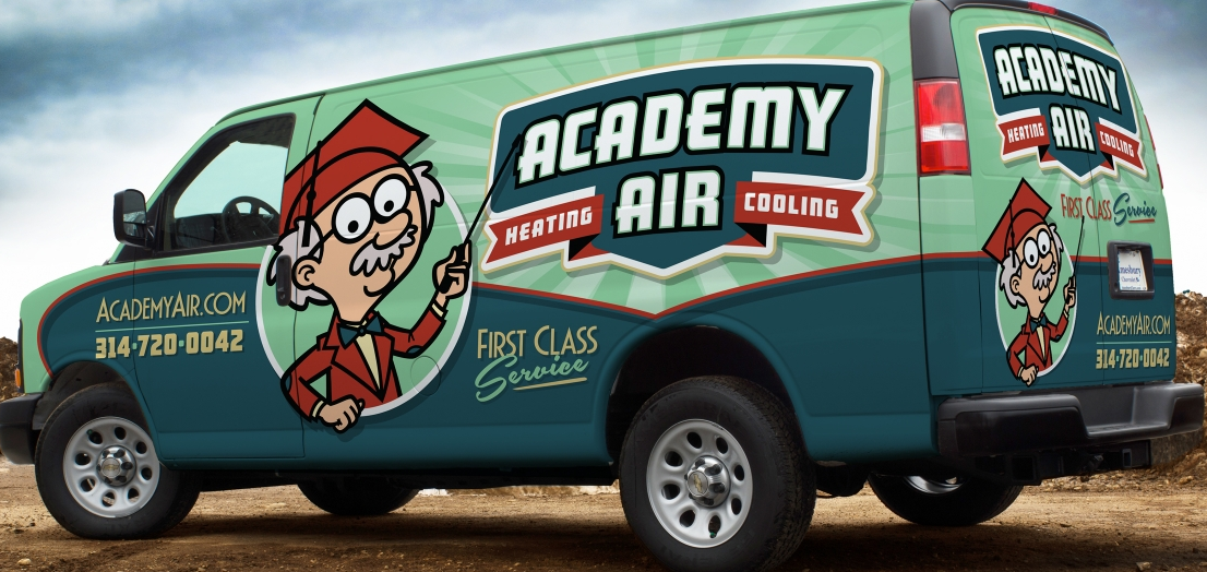 Retro Vehicle Wrap Branding And Logo Design For A Heating And