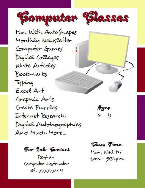 Openoffice Draw  Computer Classes Flyer Openofficedraw