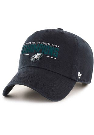 47 Philadelphia Eagles Mens Black 2018 Super Bowl Champion Clean Up Adjustable  Hat 0feb42f29