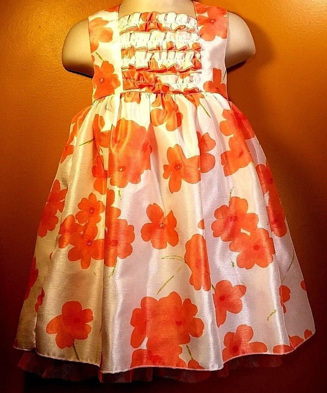 Youngland Toddler Girls Sz 3t Coral Orange Floral Satin Tulle Tutu Summer Dress Ebay Fashion Summer Dresses Satin Tulle [ 1327 x 1107 Pixel ]