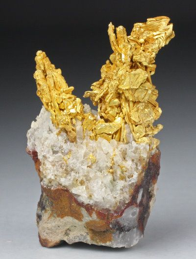 Native Gold with Quartz   Round Mountain Mine  Nye County, Nevada