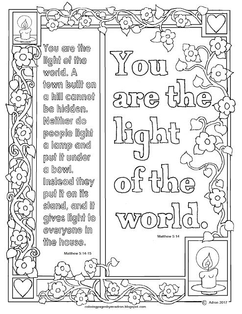 Matthew 5 14 15 Print And Color Page You Are The Light Of The