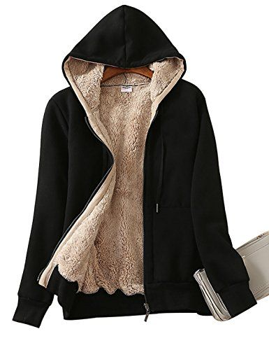 Yeokou Womens Casual Winter Warm Sherpa Lined Zip Up Hooded Sweatshirt Jacket Coat