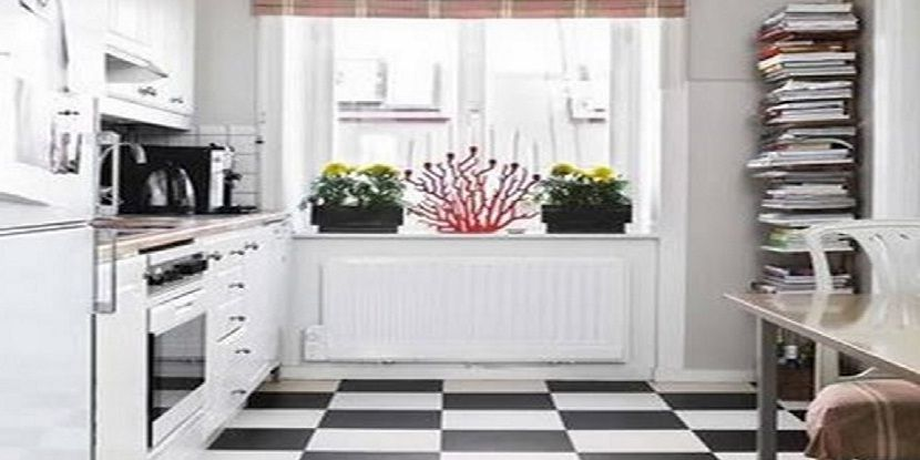 Black White Floor Themed in Tiny Kitchen Design Detail Kitchen