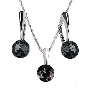 Ebay-bp_natural_uk-Sterling Silver Earrings Necklace Set *XIRIUS* Genuine Crystals from Swarovski®-Crystal Silver Night-Earrings-$11.07,Necklace -$6.59,Set-$16.58