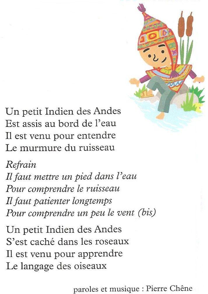 Célèbre chanson paroles Un petit Indien des Andes (Amérique du sud  RC38