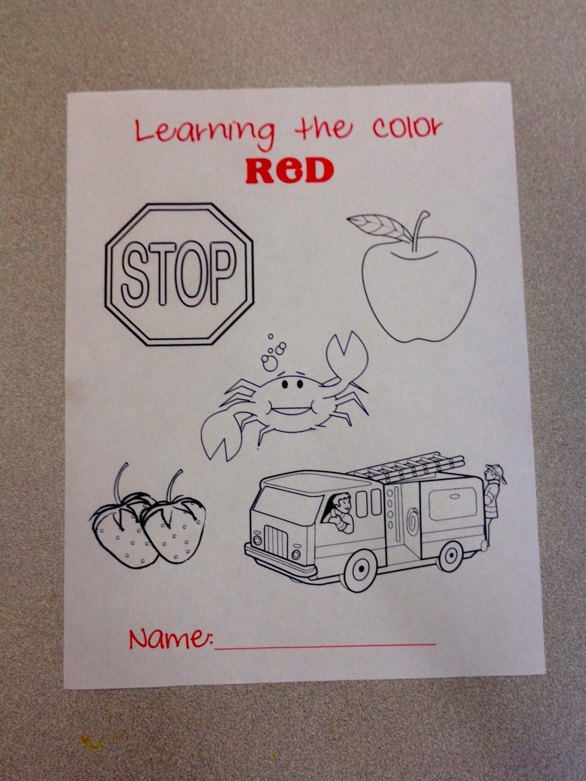 Color Red Coloring Sheet