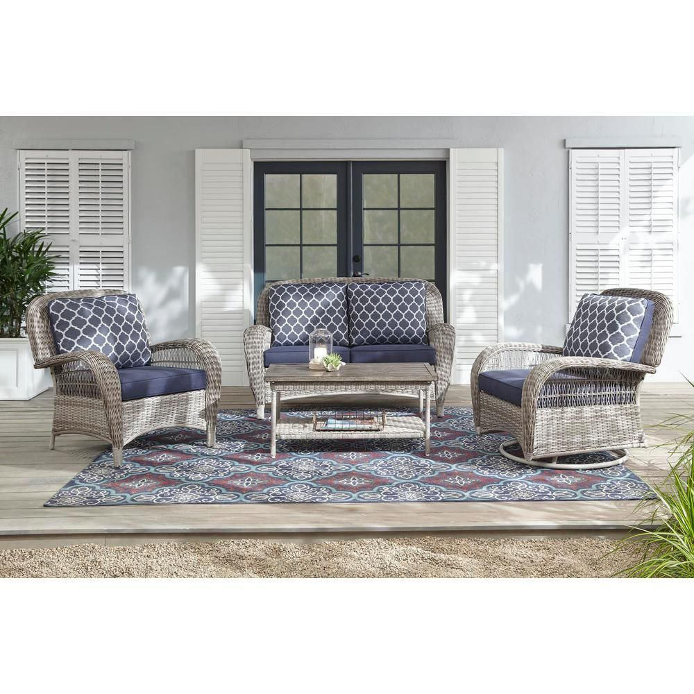 Pleasing Hampton Bay Beacon Park Gray Wicker Outdoor Swivel Lounge Pabps2019 Chair Design Images Pabps2019Com