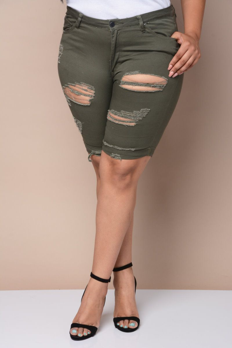 distressed bermuda shorts | plus size apparel | pinterest