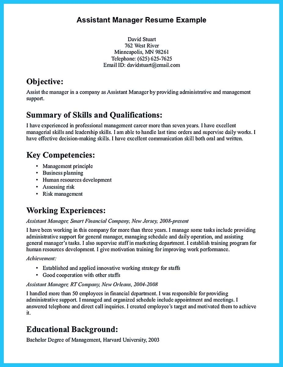 cool store assistant manager resume that can bag you