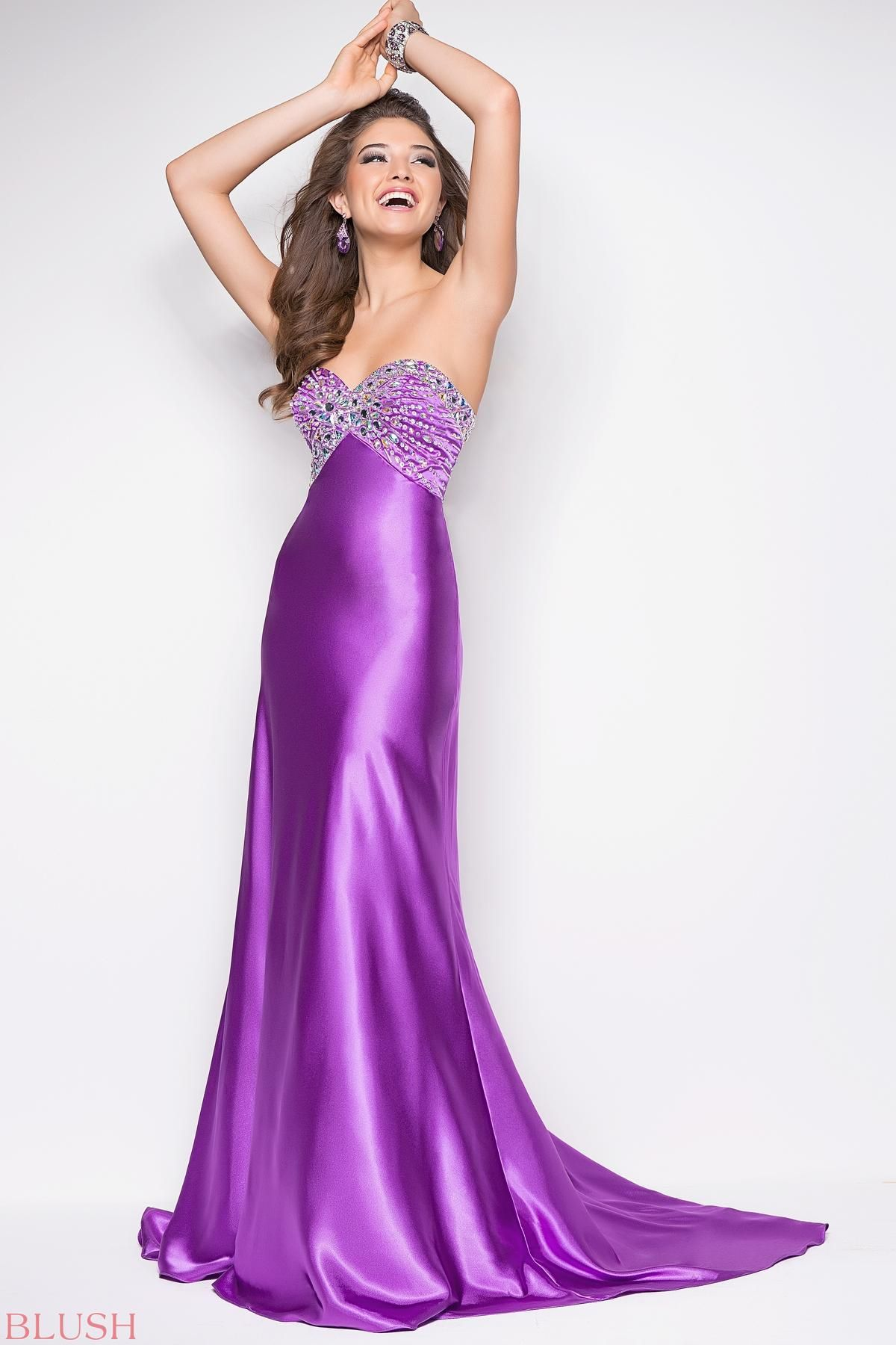 Sexy purple prom dress in satin with clear stones | Clothes | Pinterest