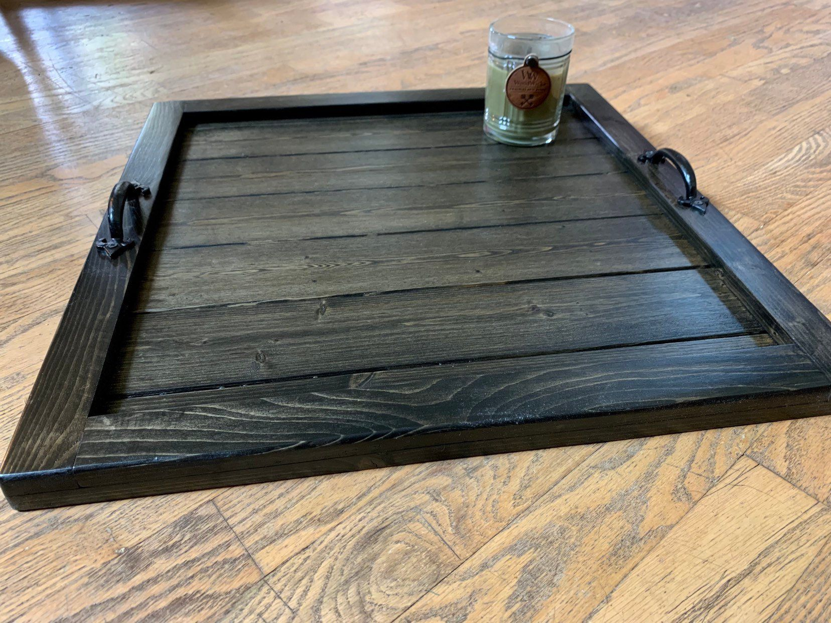 Ottoman Tray Coffee Table Tray Large Wooden Rustic Square Tray