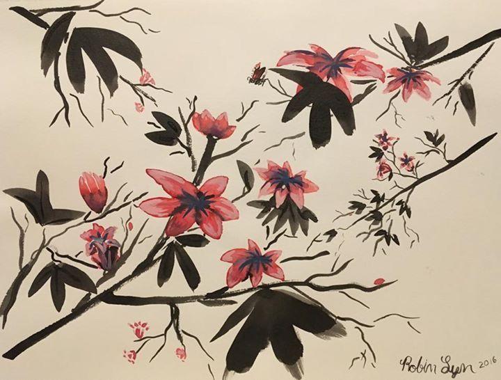 #inkpainting #ink #paintimg #flowers #robin #lyn #robinlyn #bird #bluebird #yellow #finch #cherryblossoms #tree #master #flowers