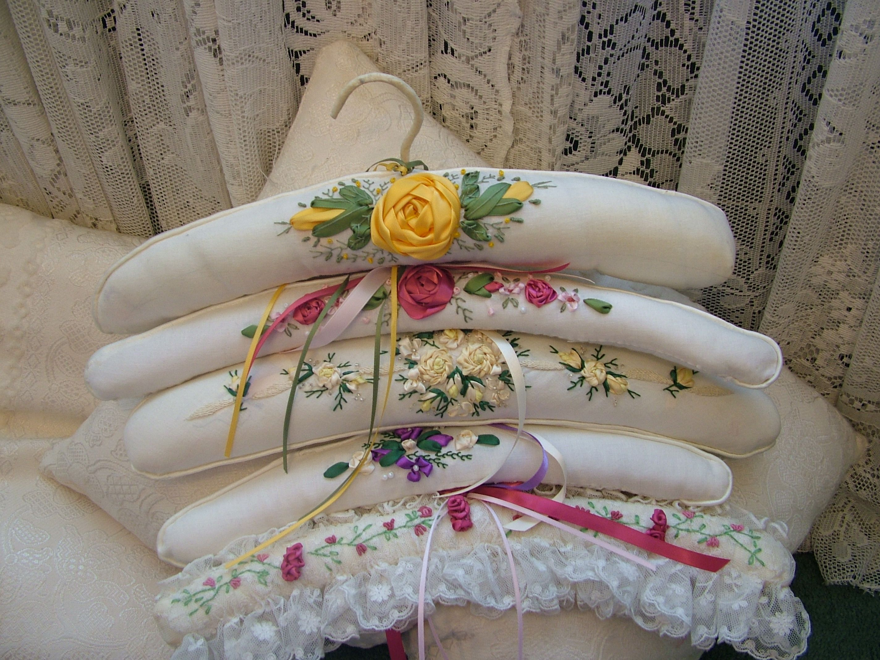 Ribbon embroidered coat hangers