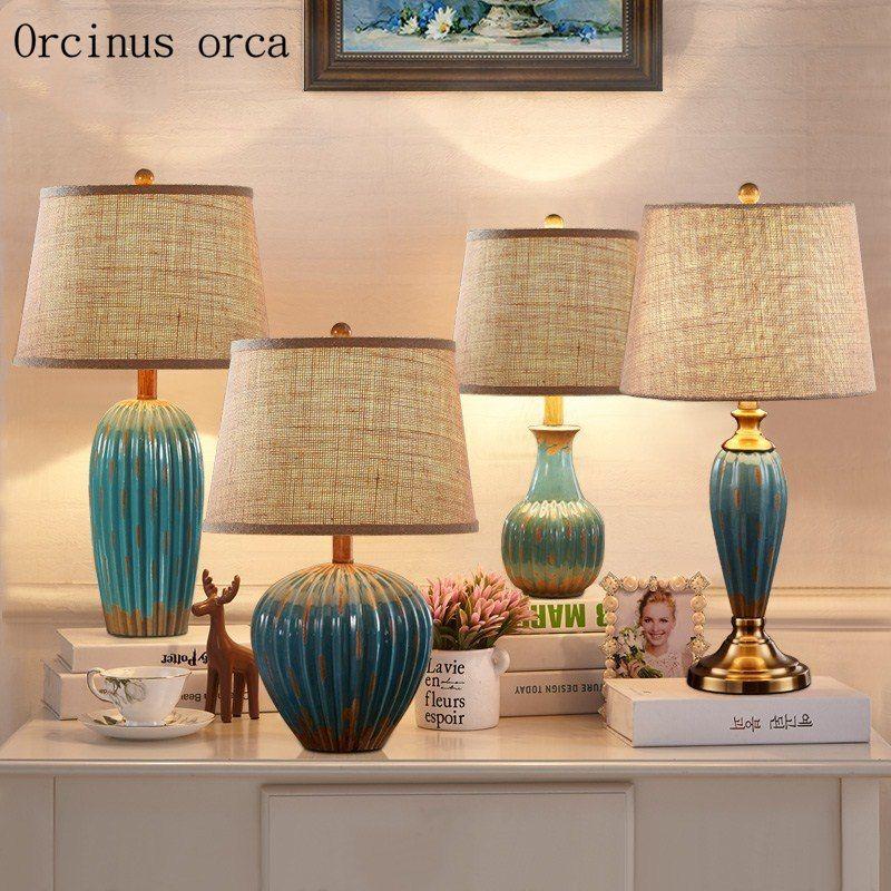Tanie Amerykańska Retro Ceramiczna Lampa Stołowa Sypialnia